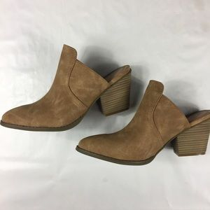 Sugar Shoes - Sugar suede like tan heeled mule booties size 8.5